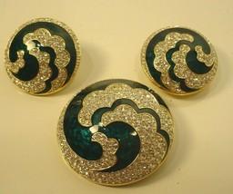 ELEGANT Vintage SWAROVSKI  Crystal Rhinestone Brooch & Earrings Green - $89.09