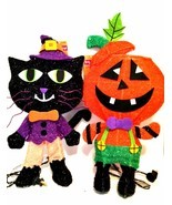 Spooky Village Halloween Pumpkin & Black Cat  Lighted Decorations 18 in ... - £18.05 GBP