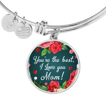 You'Re The Best I Love You Maman Acier Inoxydable Ou 18k Or Cercle Bracelet - $47.42+