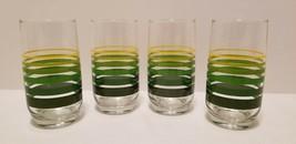 4 EUC 1970s 1980s Era Groovy Retro Yellow & Green Striped Short Tumblers... - $19.40
