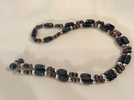 "Magnetic Hematite Women's Necklace - Purple Black Silver Approx 18"" Long - $7.77"