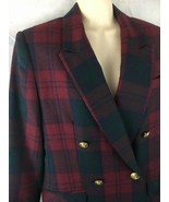 Giorgio Sant Angelo Size 6 Blazer Jacket Red Blue Plaid Lined Wool Doubl... - $19.75