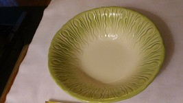 "retro 50's era 8"" Vegetable round bowl -delicate green asparagus pattern - $5.34"