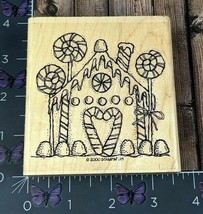 Stampin' Up! Gingerbread House Candy Rubber Stamp 2000 Christmas Wood #O93 - $12.38