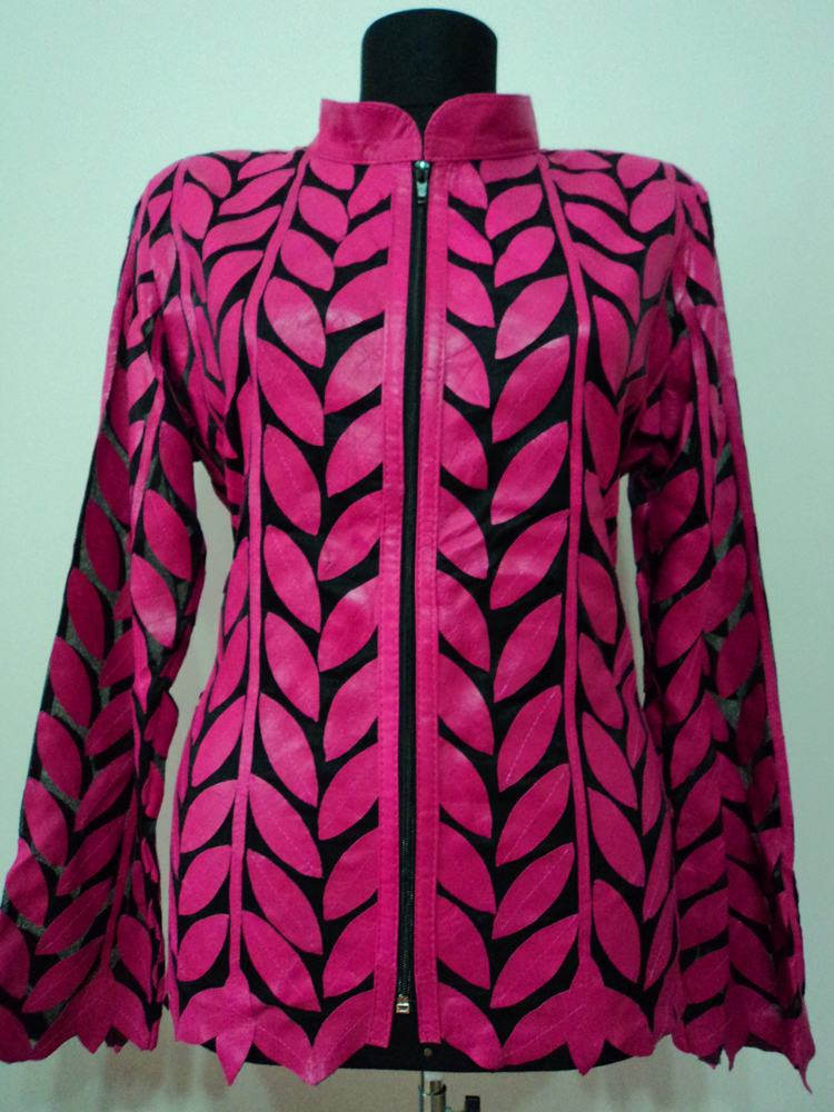 Pink leather leaf jacket women design 04 genuine short zip up light lightweight xl 1