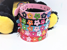 Leather Pet Dog Collar Flowers Studded Leather Dog Collar XS/S/M/L 5 Colors - $3.95+