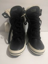 Womens Keds Black Leather Fur Ankle High Top Shoes Boots 7 - €22,30 EUR