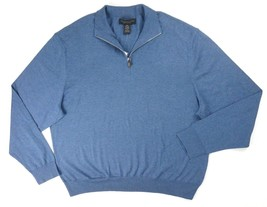 New $108 Bloomingdales Dusty Sky Cashmere Blend Jersey 1/2 Zip Sweater Size M - $14.84
