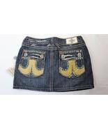 Laguna Beach Jean Co Denim Mini Skirt Green Crystals Womens Size 25 - $24.74