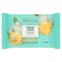 Bielenda FRESH JUICE Make up Removing CLEANSING Micellar WIPES PINEAPPLE... - $9.83