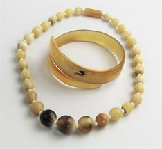 "BOHO TRIBAL CHIC Jewelry VINTAGE HORN BYPASS BANGLE BRACELET & 17"" BEAD ... - $65.00"