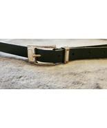 VINTAGE BLACK LEATHER LIZ CLAIBORNE SQUARE BUCKLE BELT - SIZE LARGE - $14.99