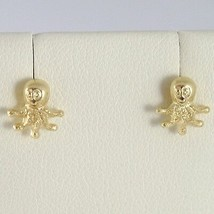 Yellow Gold Earrings 750 18k Lobe, Shaped Octopus, Shiny and Satin image 1