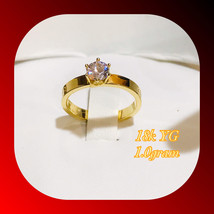 18k Real Yellow Gold Ring Size 6 w/ Zircon Stone 1.0gram - $100.00