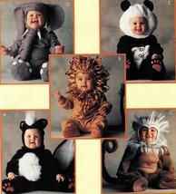 Toddlers Skunk Lion Monkey Elephant Panda Halloween Costume Sew Pattern S4 - $13.99