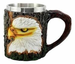 Wildlife Bald Eagle Coffee Mug With Rustic Tree Bark Design 12oz Drink S... - £17.74 GBP