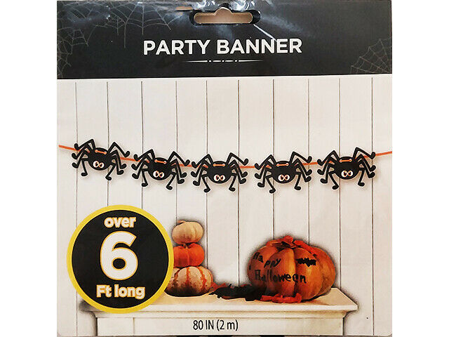 Wal-Mart Party Banner, Spiders, 80 Inches, Great for Halloween! #70564-0516