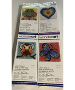 Wonderart 4 Latch Hook Rug kits NIP makes 12x12 pillow or wall hanging - $33.90