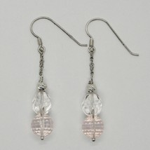 Silver Earrings 925 Rhodium Hanging Pink Quartz Faceted and Crystal image 1
