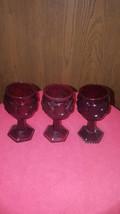 3 Avon Cape Cod Ruby Red 4 oz Wine Glass - $12.00