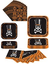 Halloween Top Hat Terror Skull Party Supplies Themed Paper Plates and Na... - $17.25