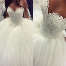 2017 Wedding Dresses Formal Ball Gown Tulle Lace Pearls Bridal Gowns Custom - $167.94