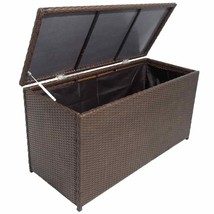 vidaXL Garden Storage Chest Poly Rattan Brown Bench Cabinet Box Organizer - €112,20 EUR