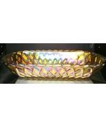 "Amber Carnival Glass 10 1/2"" Celery Dish - Pretzel Pattern Indiana Glass... - $25.00"