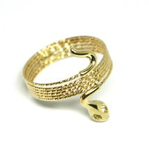 18K YELLOW GOLD MAGICWIRE MULTI WIRES RING, ELASTIC WORKED SNAKE, WHITE TOPAZ image 3