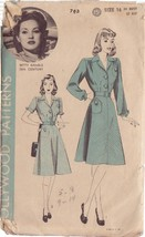 HOLLYWOOD PATTERN 763, 40'S SZ 16 ONE PIECE DRESS FEATURING BETTY GRABLE - $31.20