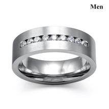 8mm Luxury Crystal Cubic Zirconia Stainless Steel Ring  Wedding Ring Set image 3