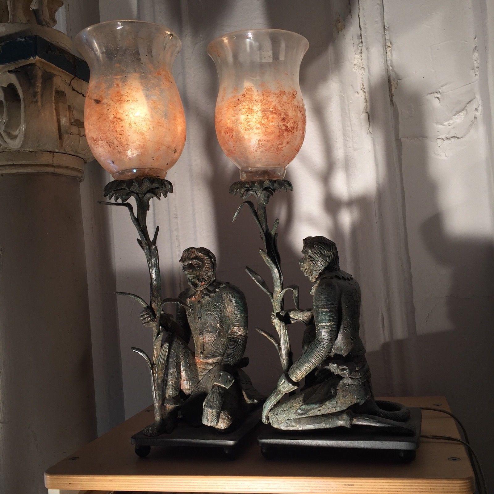 11961334101c S l1600. S l1600. PAIR ANTIQUE MONKEY LAMPS CAST IRON VICTORIAN GLASS HAND  PAINTED SHADES MONKEYS. PAIR ANTIQUE MONKEY ...
