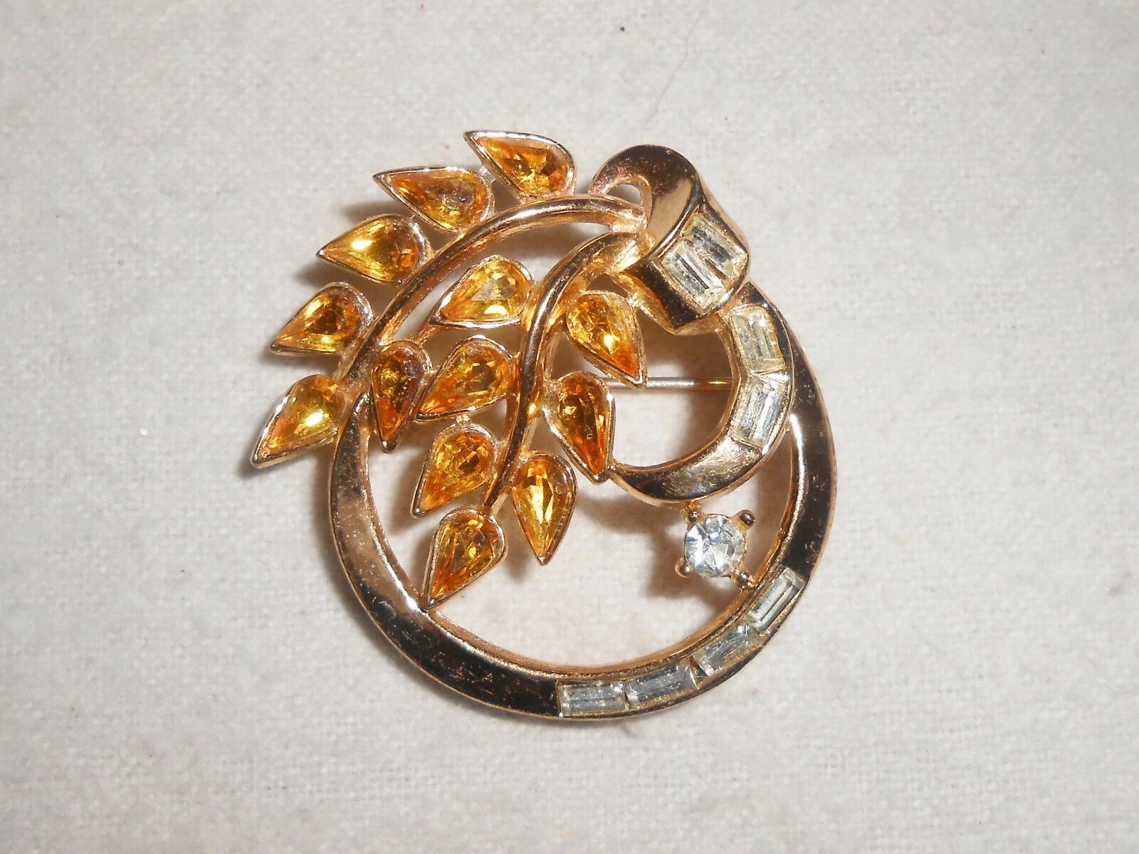 Primary image for Crown Trifari Brooch Pin Amber & Clear Rhinestone Circle Pin