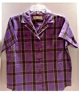 Purple Plaid Blouse Short Sleeve Size 12 Vintage 1970's Hunter's Glen Po... - $9.85