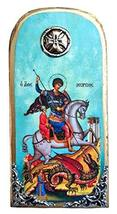 Wooden Greek Christian Orthodox Wood Icon of Saint George Riding His Hor... - $24.26