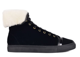 Lanvin Womens Black Velvet Shearling Lined Mid Top Sneakers Sz IT36/US6~... - $332.50