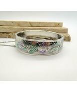 Vintage Purple Green Enamel Silver Tone Floral Thistle Design Bangle Bra... - $26.72