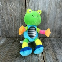 Frog Plush Crinkle Rattle Bendable Carters Green Blue 2013 Baby Toy Stuffed - $19.79