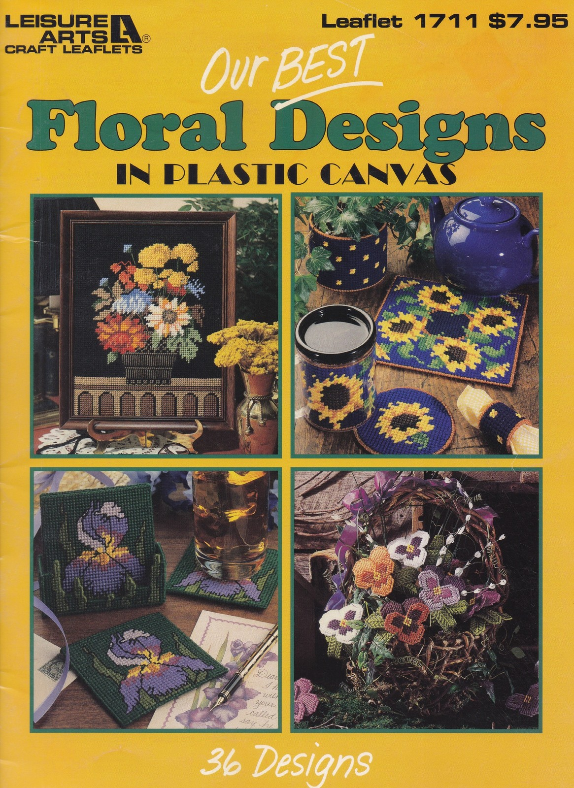 Primary image for Our Best Floral Designs Plastic Canvas Pattern Booklet LA 1711 Roses Mums & More