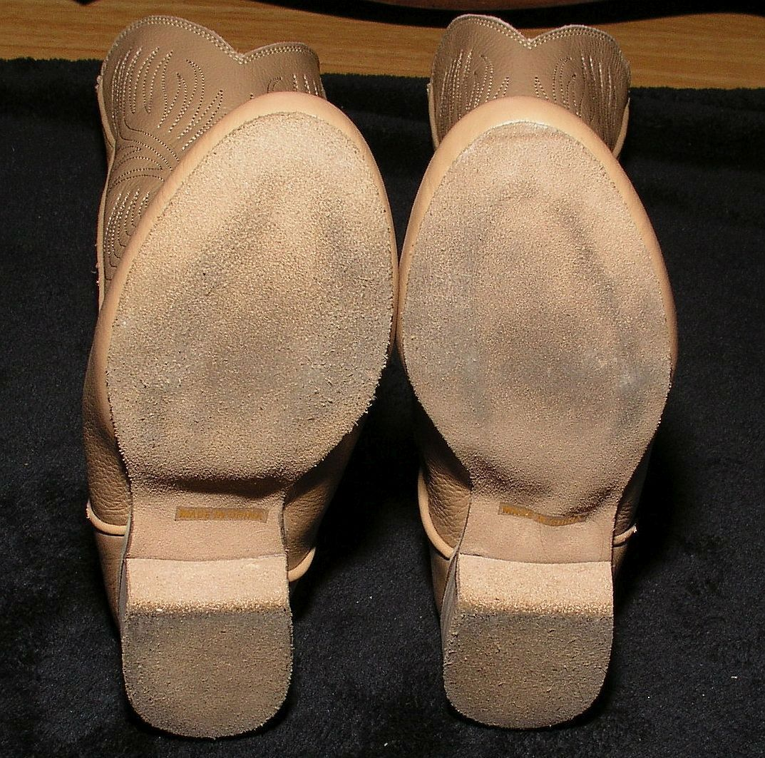 Women's Dance Boots Sz 5.5 Narrow AA Western Cowboy Faux Leather Stage Shoes Tan