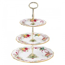 ROYAL ALBERT OLD COUNTRY ROSES CHRISTMAS TREE 3-TIER CAKE STAND NEW IN B... - $89.09
