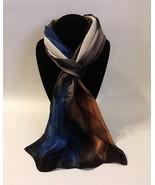 Hand Painted Silk Scarf Marine Blue Cream Toffee Brown Ladies Head Neck ... - $56.00