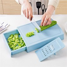 Multifunction Chopping Blocks drain basket chopping board Non-slip Blue ... - $28.50