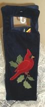 NEW Wine Bottle Holiday Gift Bag / Carrier ~ Blue Velvet w/Cardinal / Re... - $8.99