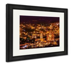 Framed Print, San Miguel De Allende Mexico Miramar Overlook Night Parroq... - $149.95+