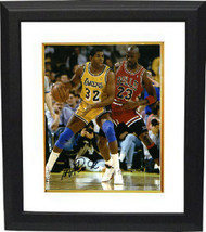 Magic Johnson signed Los Angeles Lakers 8x10 Photo Custom Framed  (yello... - $123.95