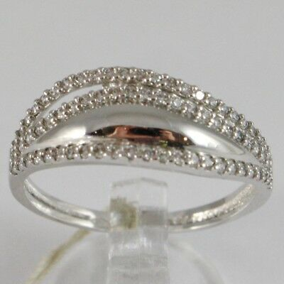 White Gold Ring 750 18k, veretta with Cubic Zirconium, 3 files, Crimped