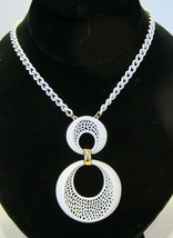 Vintage Mid Century Mod White Painted Pendant and Necklace Funky and Chunky - $19.79