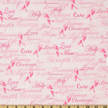 Timeless Treasures Ribbons Of Hope Strength Pink 100% cotton fabric by t... - $276,63 MXN
