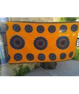Vintage David Whitehead Java Fabric Textile 80 x 46 Orange Blue Zimbabwe - $37.12